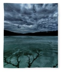 Tree Pattern In Thawing Ice Fleece Blanket