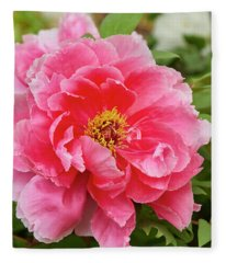 Tree Peony Fleece Blanket