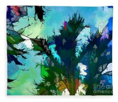 Tree Spirit Abstract Digital Painting Fleece Blanket