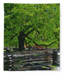 Tree With Colonial Fence Fleece Blanket