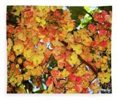 Trees And Flowers In Hawaii Fleece Blanket