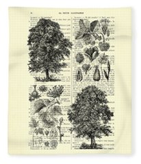 Trees And Seeds Black And White Fleece Blanket