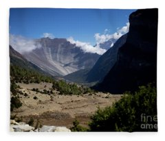 Fleece Blanket featuring the photograph Trees And Snowcapped Peak At Background In The Himalaya Mountains, Nepal by Raimond Klavins