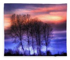 Trees And Twilight Fleece Blanket