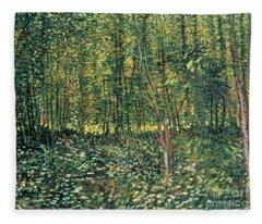 Trees And Undergrowth Fleece Blanket