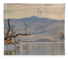 Trees And Wind Turbines At Los Vaqueros Fleece Blanket