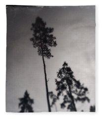 Trees Black And White Wetplate Fleece Blanket