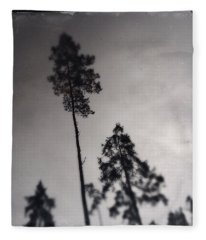 Trees Black And White Wetplate Fleece Blanket
