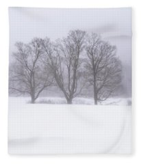 Trees In Fog Fleece Blanket