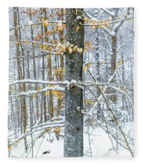 Trees In Snow Fleece Blanket