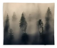 Trees In The Fog Fleece Blanket