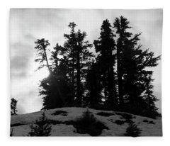 Trees Silhouettes Fleece Blanket