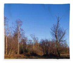 Trees With The Moon Fleece Blanket
