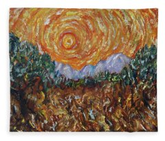 Trees, Yellow Sky And Sun Inspired By Vincent Van Gogh's Paintin Fleece Blanket