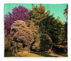 Treescape In Amber Greens Fleece Blanket