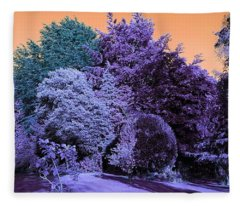 Treescape In Indigo Mix Fleece Blanket
