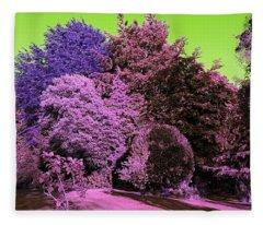 Treescape In Pink Mix Fleece Blanket