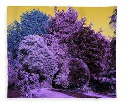 Treescape In Violet Mix Fleece Blanket