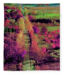 Tree Top View Of A Illinois Country Road Fall Fleece Blanket