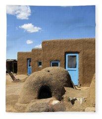 Tres Casitas Taos Pueblo Fleece Blanket