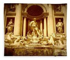 Trevi Fountain - Sepia Fleece Blanket