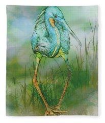 Tri-colored Heron Balancing Act - Colorized Fleece Blanket