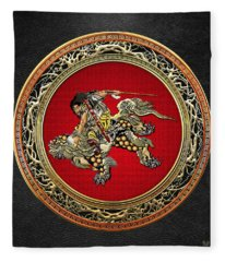 Tribute To Hokusai - Shoki Riding Lion  Fleece Blanket
