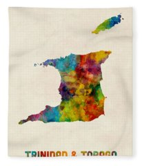 Trinidad And Tobago Watercolor Map Fleece Blanket