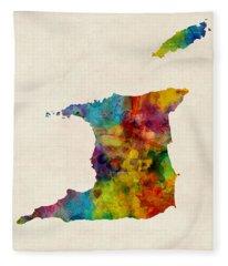 Trinidad And Tobago Watercolor Map Fleece Blanket