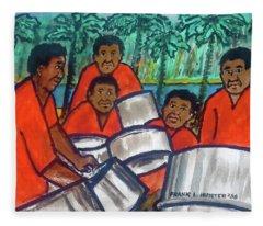 Trinidad Tobago Pan Band Fleece Blanket