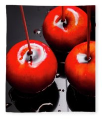 Trio Of Bright Red Home Made Candy Apples Fleece Blanket