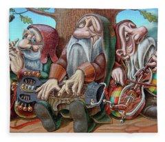 Trio Under The Oak Fleece Blanket