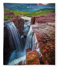 Triple Falls Sunset Fleece Blanket