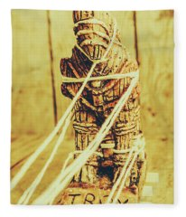 Trojan Horse Wooden Toy Being Pulled By Ropes Fleece Blanket