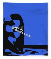 Trombone In Blue Fleece Blanket