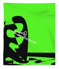 Trombone In Green Fleece Blanket