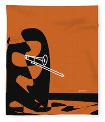 Trombone In Orange Fleece Blanket