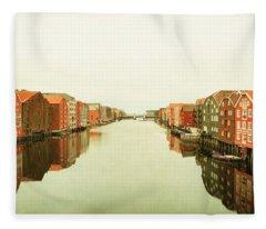 Trondheim On A Rainy Day Fleece Blanket