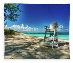 Tropical Beach Chair Fleece Blanket