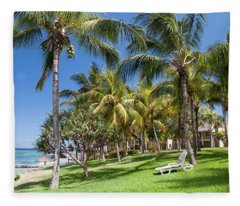 Tropical Beach I. Mauritius Fleece Blanket