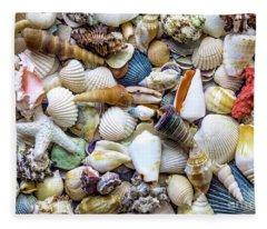 Tropical Beach Seashell Treasures 1529b Fleece Blanket