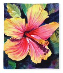Tropical Bliss Hibiscus 2 Fleece Blanket
