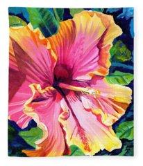 Tropical Bliss Hibiscus Fleece Blanket