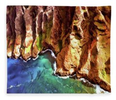 Tropical Coastline Hawaii Of The Isolated Napali Coast  Fleece Blanket