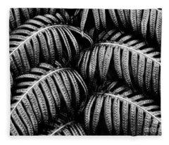 Tropical Fern Black White Fleece Blanket