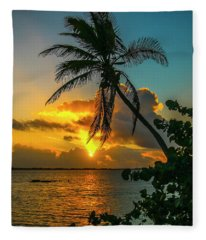 Tropical Lagoon Sunrise Fleece Blanket