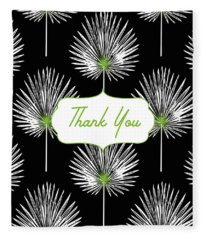 Tropical Leaf Thank You Black- Art By Linda Woods Fleece Blanket