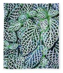 Tropical Nerve Mosaic Plant Fittonia Leaves Fleece Blanket