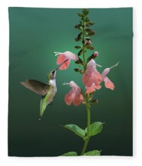 Tropical Sage And Hummingbird Fleece Blanket