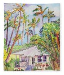 Tropical Waimea Cottage Fleece Blanket